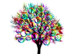colorful tree with gears