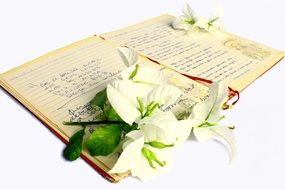 poetry book and Flowers