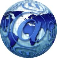 Blue Earth globe with the e-mail sign