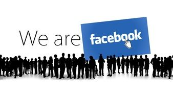 Clipart of We are facebook text and silhouettes