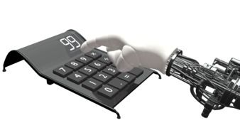 Clipart of robot press on a buttons on calculator