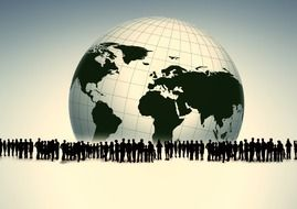 silhouette of people group and planet