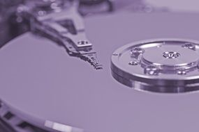 black and white photo of a hard disk