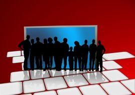 Human communitu on the blue and red background