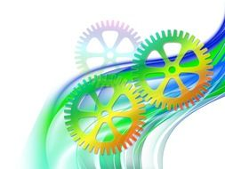 time gears and blue and green lines