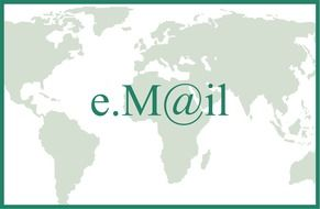 e-mail symbol above world map