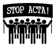 stop acta, demonstration, group of people with banner, drawing