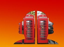 red english telephone boxes in female faces silhouettes