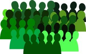 green silhouettes of group of people