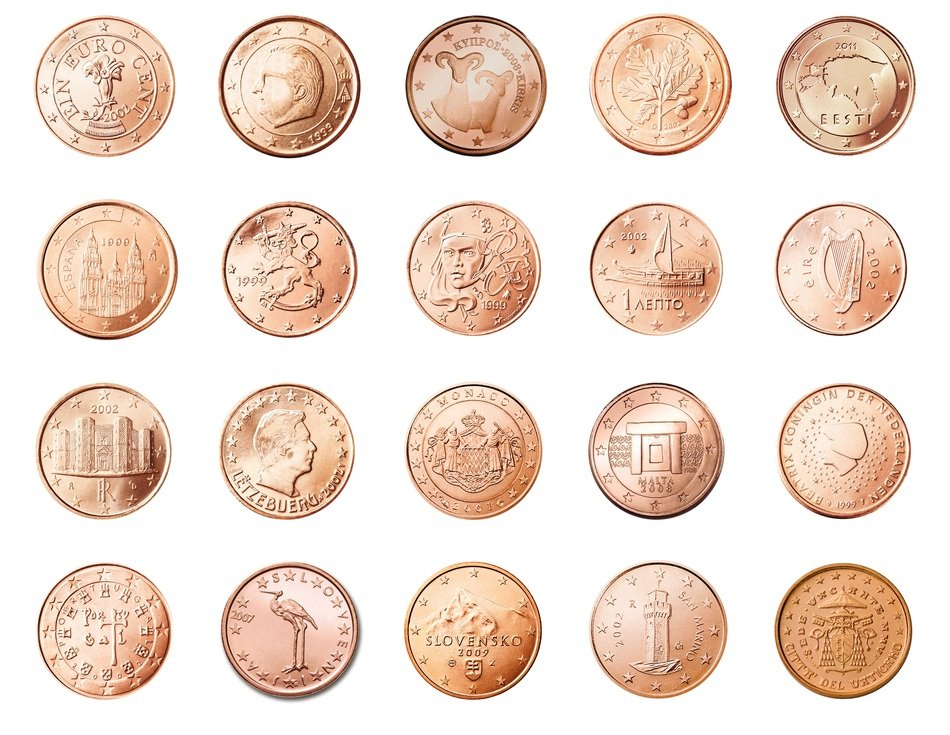 one cent coins, europe currency
