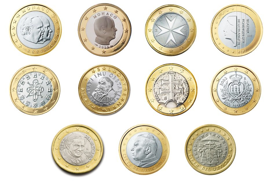 euro 1 coin currency money different countries