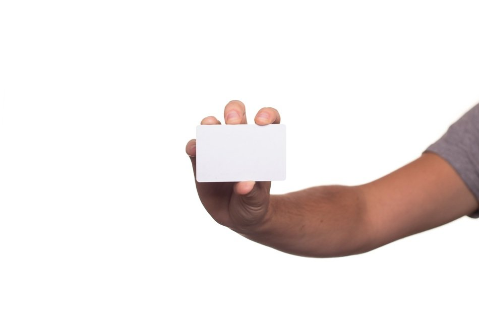 white empty card in hand