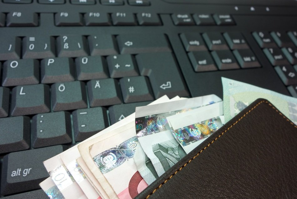 bank note euro leather money purse keyboard