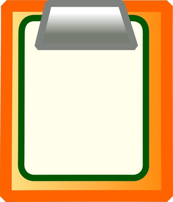 orange folder with a white sheet as a graphic image