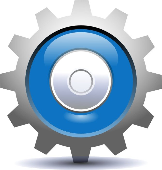 graphic image of a blue gear