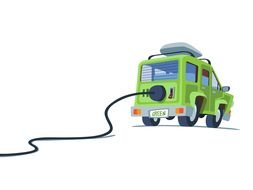 Electric cartoon car clipart