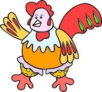 Colorful cartoon chicken clipart