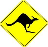yellow kangaroo warning sign