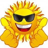 Cartoon Smiling Sun With The Sunglasses Clipart