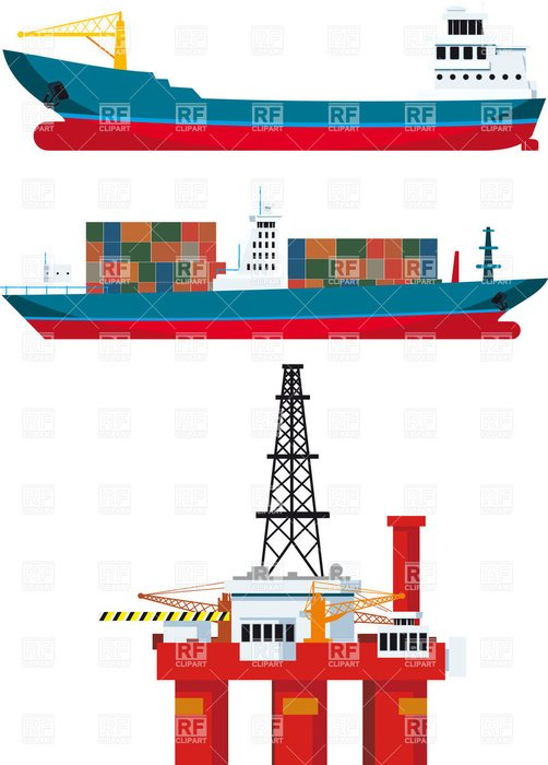 Colorful cargo ships clipart