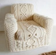 white knitted chair cover