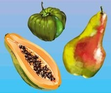 papaya, pear and green pumpkin