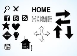 Clip art of Directions Icons