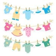 Cartoon beautiful colorful baby clothes clipart