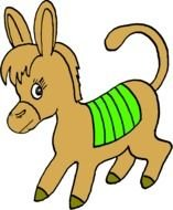 Colorful cartoon donkey clipart