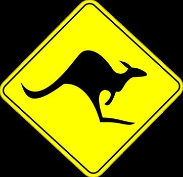 yellow road sign with a kangaroo in Australia