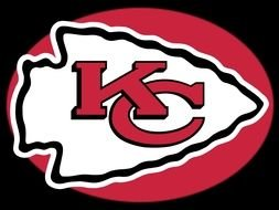 Kansas City Chiefs,,Logo of team at black background