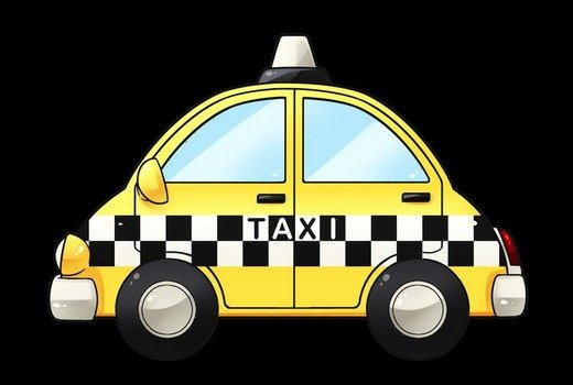 Colorful cartoon taxi clipart