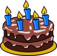 Beautiful and colorful birthday cake with the candles clipart