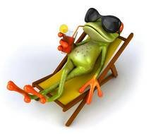 Green lying frog clipart