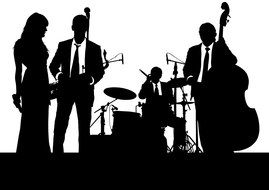 silhouette of a musical group on stage