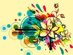 Clipart of Abstract Floral Vector Design
