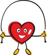 cartoon heart is jumping rope