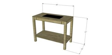 wooden rustic Garden Table, drawing