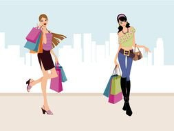 Girls Shopping Clip Art drawing