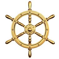gold Pirate Ship Steering Wheel drawing