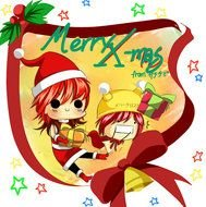 clipart of the Chibi Anime Christmas Merry