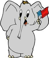 animated baby elephant with flag