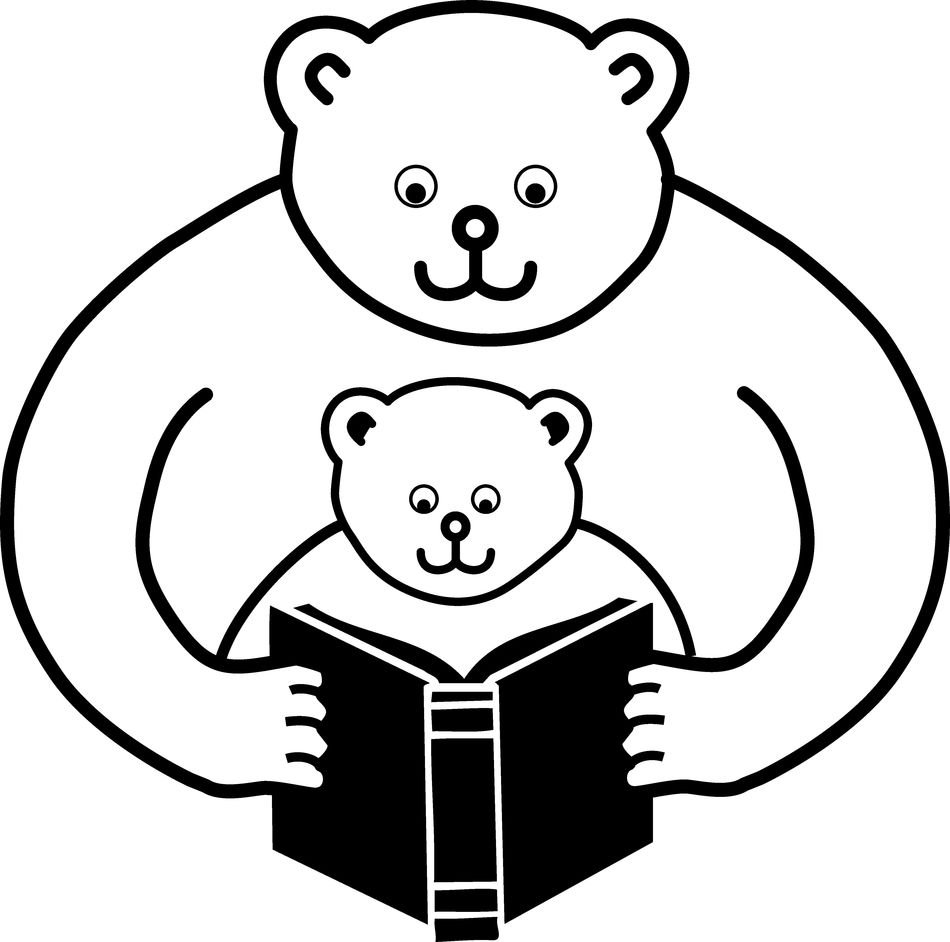 bear Parent Reading Clip Art