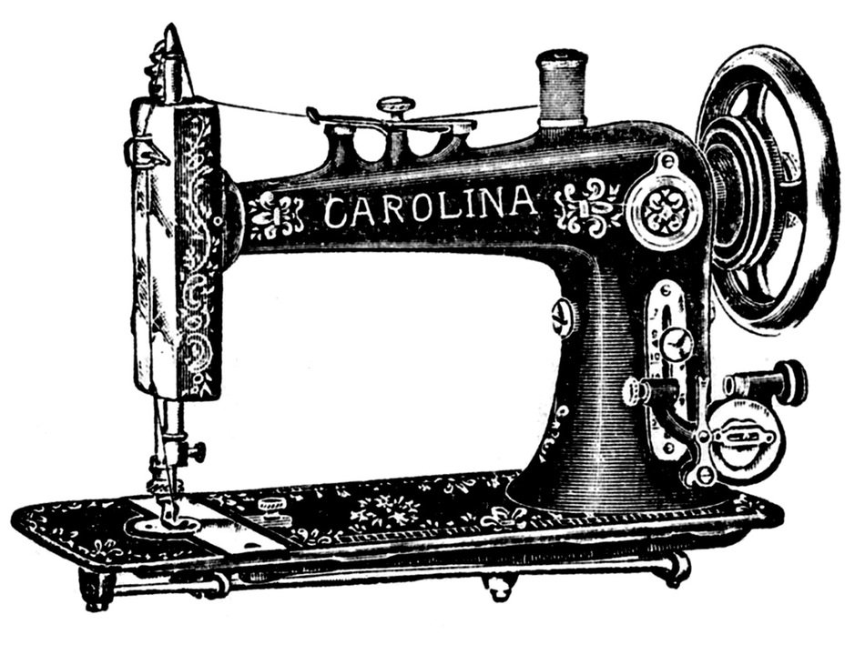 Black and white drawing of the vintage sewing machine clipart