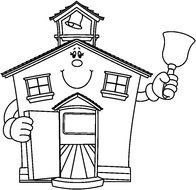 clipart of the cartoon Schoolhouse
