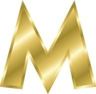golden letter M on a white background