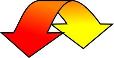 curved red-yellow arrow