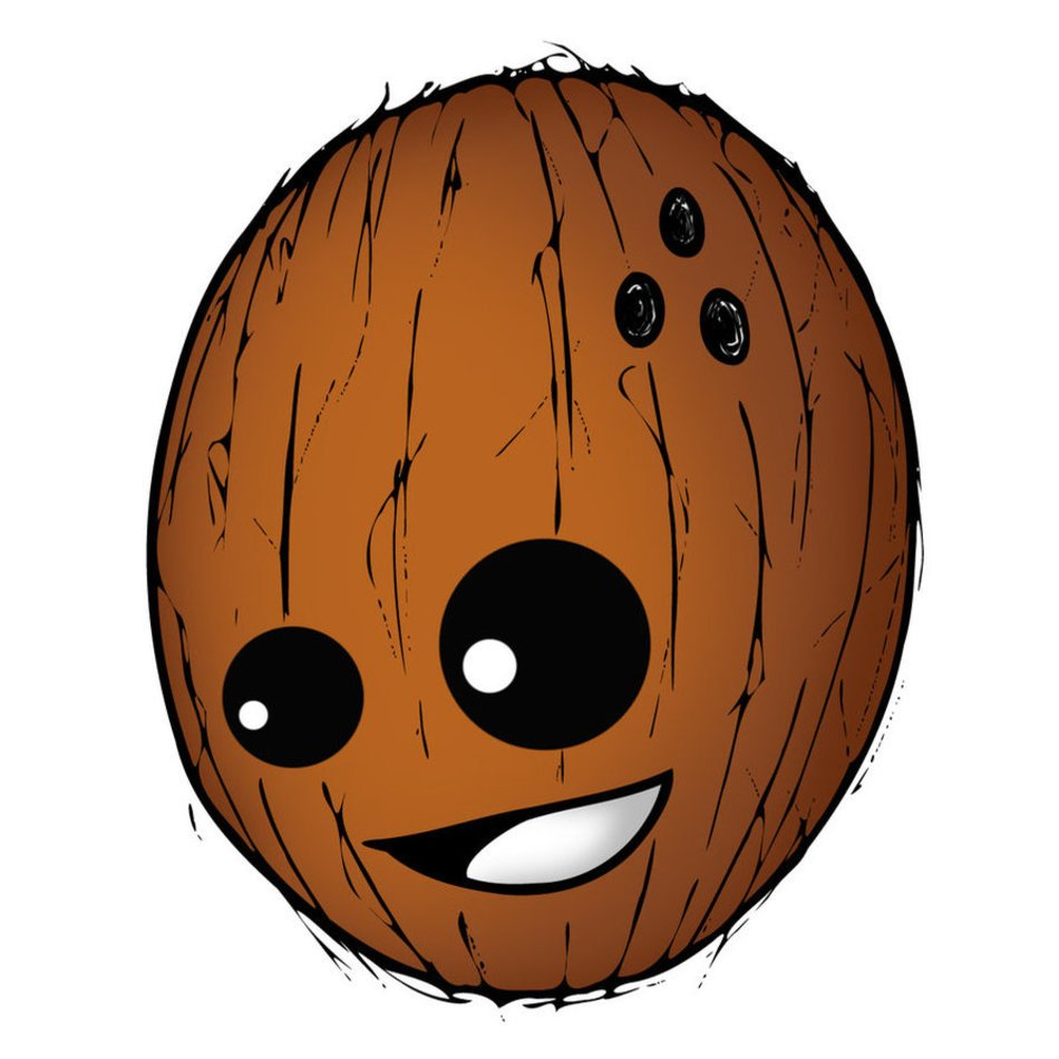 animated coconut on a white background
