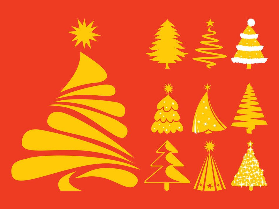 Christmas trees of different types on a red background
