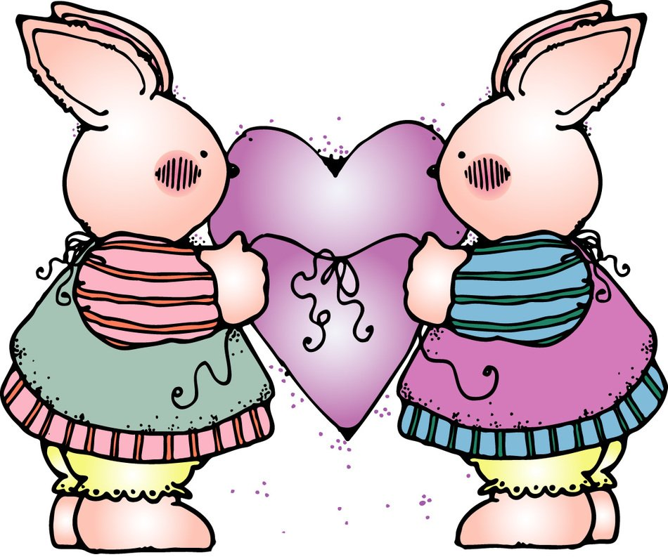 rabbits in love as a graphic illustration
